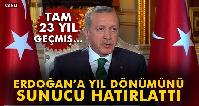 Erdoğan'a 'yıl dönümünü' canlı yayında sunucu hatırlattı