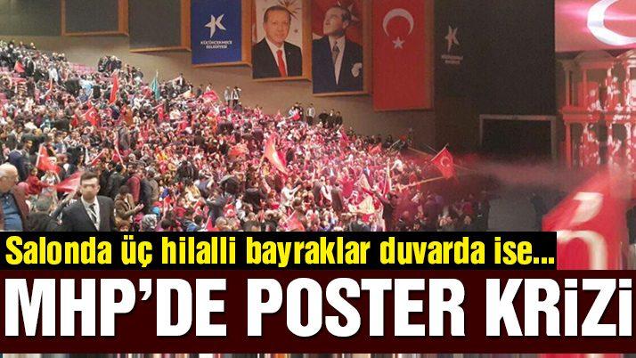 MHP gecesinde Erdoğan posteri