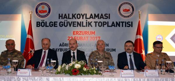 Bakan Soylu, güvenlik toplantısı için Erzurum'da