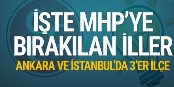 İşte AK Parti'nin MHP için aday çıkarmayacağı il ve ilçeler...