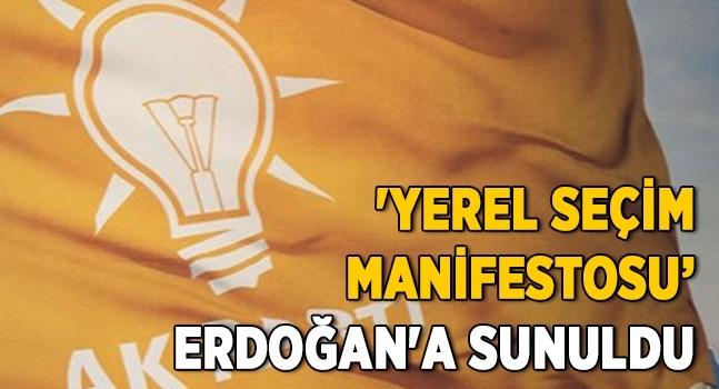 AK Parti'nin 'yerel seçim manifestosu' Erdoğan'a sunuldu